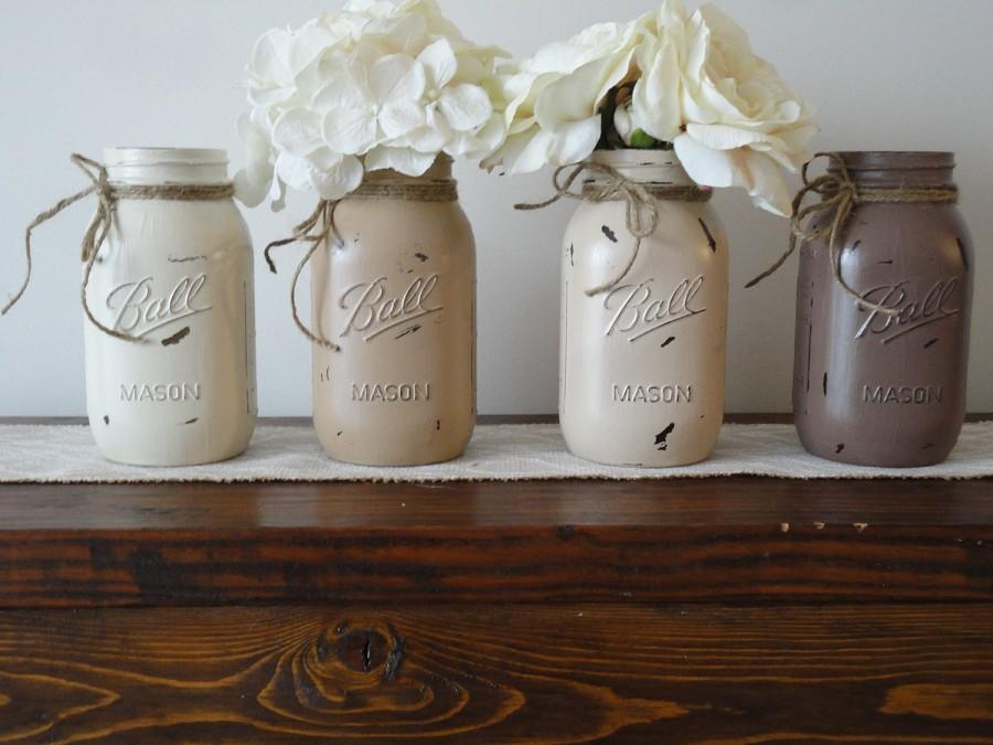 painted-mason-jars-set-of-4-distressed-neutral-color-mason-jars-wedding-decor-kitchen-decor-home-decor-rustic-wedding-flower-vase