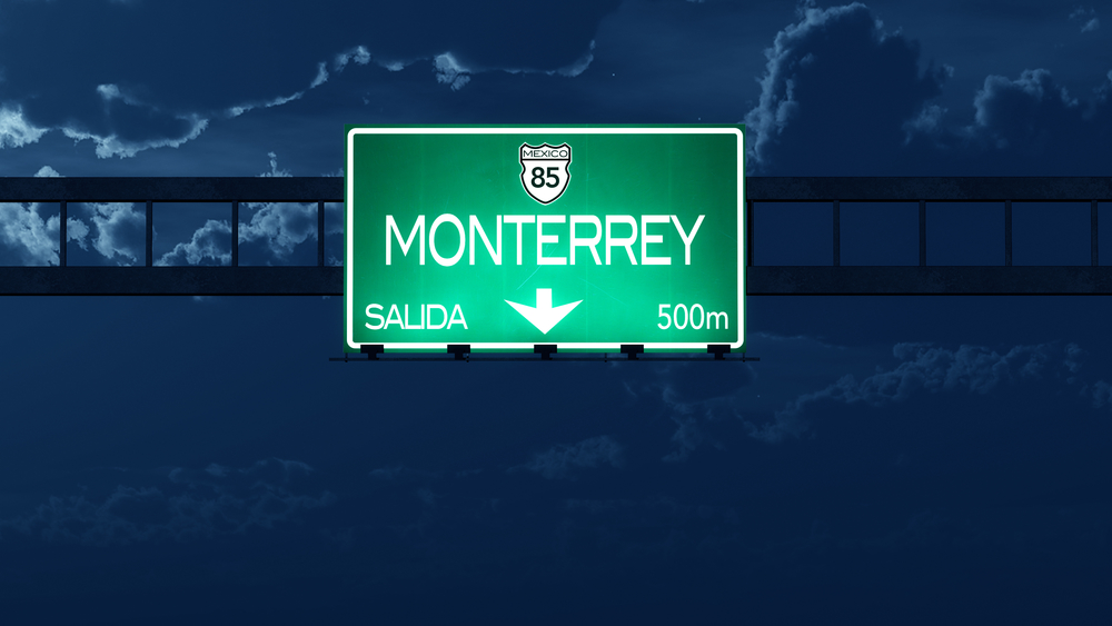 Monterrey Mexico Highway Road Sign at Night